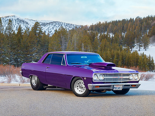 1965 Chevrolet Chevelle SS Hot Rod Purple 3/4 Front View On
