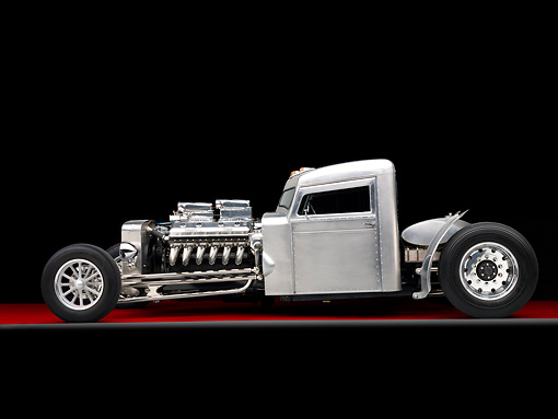 AUT 26 RK2757 01 © Kimball Stock 1960 Blastolene Peterbilt Truck Hot Rod Profile View Studio
