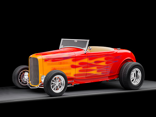 AUT 26 RK2798 01 © Kimball Stock 1932 Ford Roadster Hot Rod Red With Orange Flames 3/4 Front View Studio