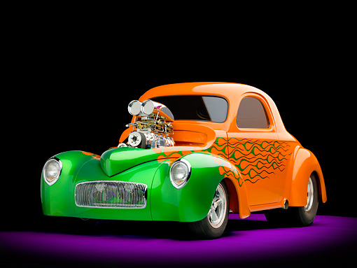 AUT 26 RK2809 01 © Kimball Stock 1941 Willys Coupe Hot Rod Orange And Green 3/4 Front View Studio