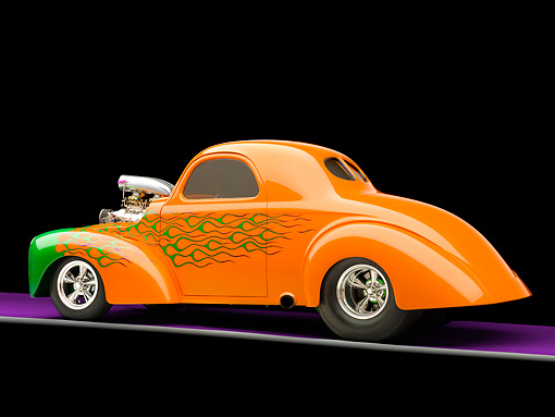 AUT 26 RK2810 01 © Kimball Stock 1941 Willys Coupe Hot Rod Orange And Green 3/4 Rear View Studio
