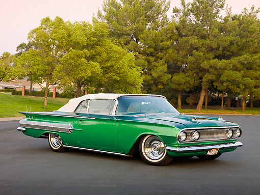 AUT 26 RK2815 01 © Kimball Stock 1960 Chevrolet Impala Convertible Hot Rod Green 3/4 Front View On Pavement By Trees