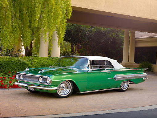 1960 Chevrolet Impala Convertible Hot Rod Green 3 4 Front View On