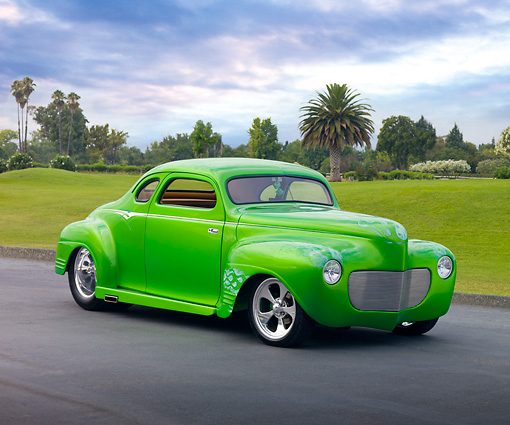AUT 26 RK2823 01 © Kimball Stock 1941 Plymouth Business Coupe Hot Rod Green 3/4 Front View On Pavement By Grass