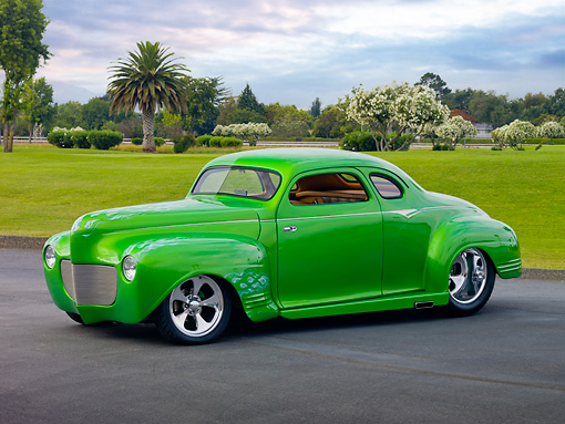 AUT 26 RK2824 01 © Kimball Stock 1941 Plymouth Business Coupe Hot Rod Green 3/4 Front View On Pavement By Grass