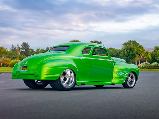 AUT 26 RK2828 01 © Kimball Stock 1941 Plymouth Business Coupe Hot Rod Green 3/4 Rear View On Pavement