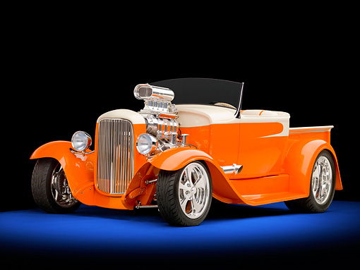 AUT 26 RK2833 01 © Kimball Stock 1931 Ford Model A Roadster Pickup Truck Hot Rod Orange And Cream 3/4 Front View Studio