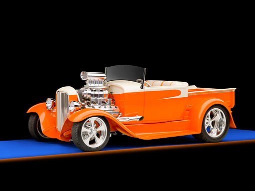 AUT 26 RK2834 01 © Kimball Stock 1931 Ford Model A Roadster Pickup Truck Hot Rod Orange And Cream 3/4 Front View Studio
