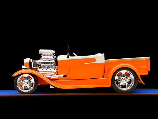 AUT 26 RK2837 01 © Kimball Stock 1931 Ford Model A Roadster Pickup Truck Hot Rod Orange And Cream Profile View Studio