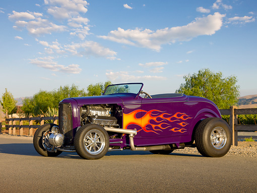 AUT 26 RK2844 01 © Kimball Stock 1932 Ford Roadster Hot Rod Purple 3/4 Front View On Pavement