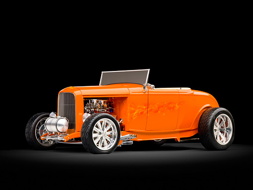 AUT 26 RK2857 01 © Kimball Stock 1932 Ford Hi-Boy Roadster Hot Rod Orange 3/4 Front View Studio