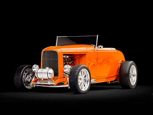 AUT 26 RK2858 01 © Kimball Stock 1932 Ford Hi-Boy Roadster Hot Rod Orange 3/4 Front View Studio