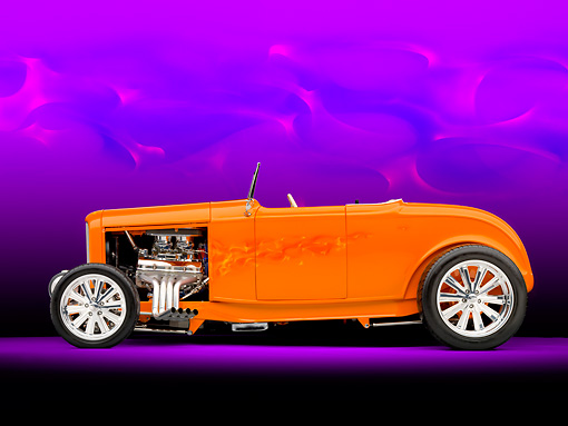 AUT 26 RK2859 01 © Kimball Stock 1932 Ford Hi-Boy Roadster Hot Rod Orange Profile View Studio
