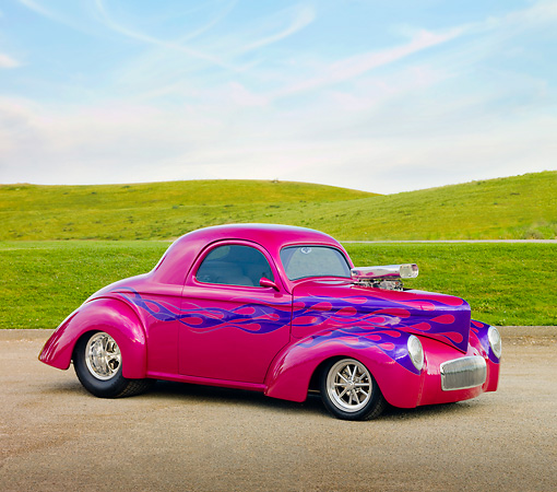 AUT 26 RK2864 01 © Kimball Stock 1941 Willys Coupe Hot Rod Raspberry 3/4 Front View On Pavement By Hills