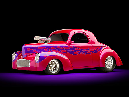 AUT 26 RK2868 01 © Kimball Stock 1941 Willys Coupe Hot Rod Raspberry 3/4 Front View Studio