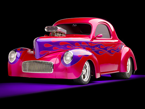 AUT 26 RK2869 01 © Kimball Stock 1941 Willys Coupe Hot Rod Raspberry 3/4 Front View Studio