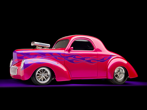 AUT 26 RK2870 01 © Kimball Stock 1941 Willys Coupe Hot Rod Raspberry 3/4 Front View Studio