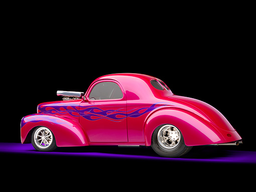 AUT 26 RK2871 01 © Kimball Stock 1941 Willys Coupe Hot Rod Raspberry 3/4 Rear View Studio