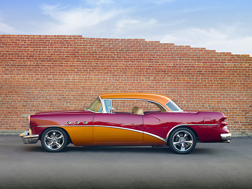 AUT 26 RK2877 01 © Kimball Stock 1954 Buick Special Hot Rod Burgundy And Orange Profile View On Pavement By Brick Wall