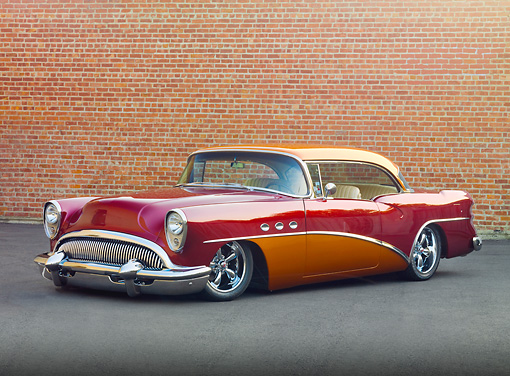 AUT 26 RK2878 01 © Kimball Stock 1954 Buick Special Hot Rod Burgundy And Orange 3/4 Front View On Pavement By Brick Wall