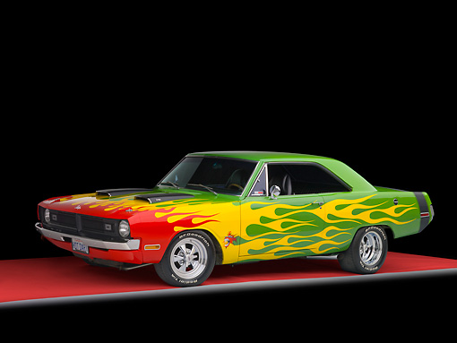AUT 26 RK2884 01 © Kimball Stock 1970 Dodge Dart Hot Rod Red, Yellow, Green 3/4 Front View Studio