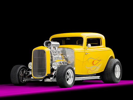 AUT 26 RK2886 01 © Kimball Stock 1932 Ford 3 Window Coupe Hot Rod Yellow With Flames 3/4 Front View Studio