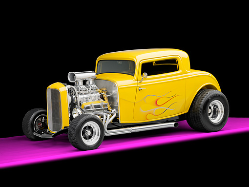 AUT 26 RK2887 01 © Kimball Stock 1932 Ford 3 Window Coupe Hot Rod Yellow With Flames 3/4 Front View Studio
