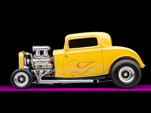 AUT 26 RK2888 01 © Kimball Stock 1932 Ford 3 Window Coupe Hot Rod Yellow With Flames Profile View Studio
