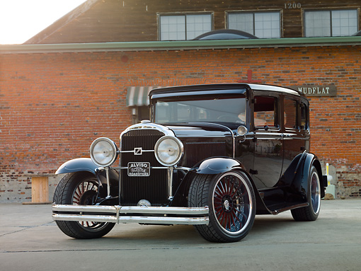 AUT 26 RK2945 01 © Kimball Stock 1930 Buick Model 40 Hot Rod Black 3/4 Front View On Pavement By Building