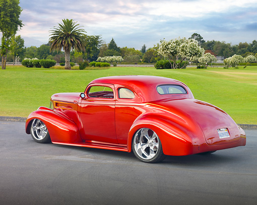 AUT 26 RK2967 01 © Kimball Stock 1939 Chevy Hot Rod Candy Red On Pavement By Grass