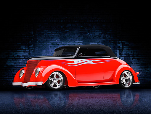 AUT 26 RK2969 01 © Kimball Stock 1937 Ford Cabriolet Hot Rod Red 3/4 Front View Studio With Brick