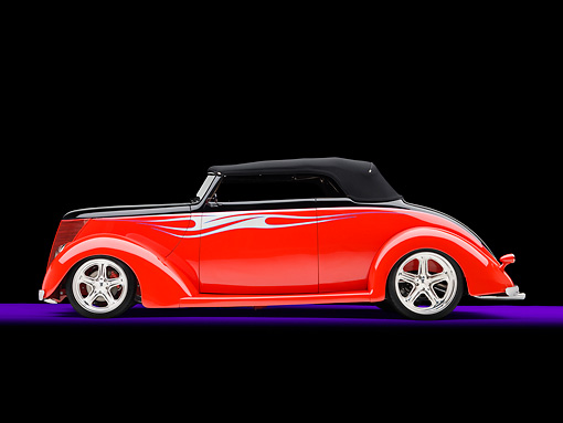 AUT 26 RK2970 01 © Kimball Stock 1937 Ford Cabriolet Hot Rod Red Profile View Studio