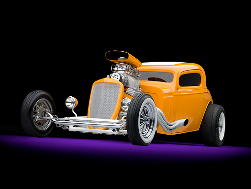 AUT 26 RK2973 01 © Kimball Stock 1934 Chevrolet 3 Window Coupe Hot Rod Orange 3/4 Front View Studio