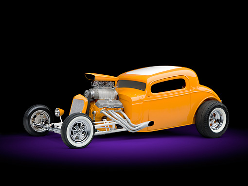 AUT 26 RK2974 01 © Kimball Stock 1934 Chevrolet 3 Window Coupe Hot Rod Orange 3/4 Front View Studio