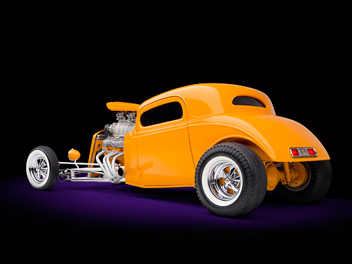 AUT 26 RK2976 01 © Kimball Stock 1934 Chevrolet Coupe Hot Rod Orange 3/4 Rear View Studio