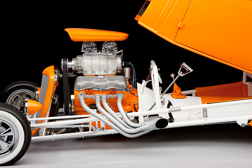 AUT 26 RK2989 01 © Kimball Stock 1934 Chevrolet 3 Window Coupe Hot Rod Orange Profile View In Studio
