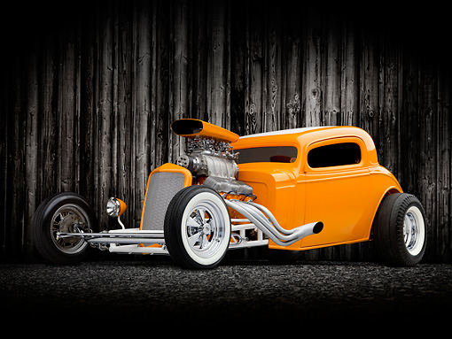 AUT 26 RK3015 01 © Kimball Stock 1934 Chevrolet 3 Window Coupe Hot Rod Orange 3/4 Front View Studio