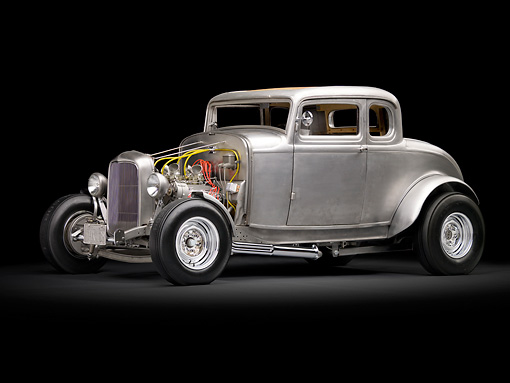 AUT 26 RK3052 01 © Kimball Stock 1932 Ford Johnson Coupe Raw Metal 3/4 Side View In Studio