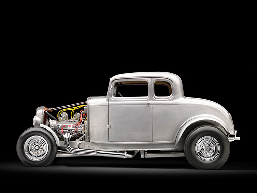 AUT 26 RK3057 01 © Kimball Stock 1932 Ford Johnson Coupe Raw Metal Profile View In Studio