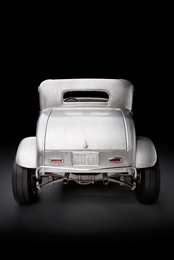 AUT 26 RK3058 01 © Kimball Stock 1932 Ford Johnson Coupe Raw Metal Rear View In Studio