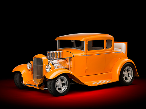 AUT 26 RK3085 01 © Kimball Stock 1930 Ford Model A Hot Rod Orange 3/4 Front View In Studio