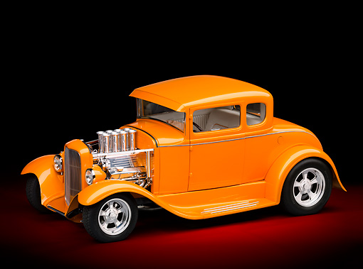 AUT 26 RK3087 01 © Kimball Stock 1930 Ford Model A Hot Rod Orange 3/4 Side View In Studio