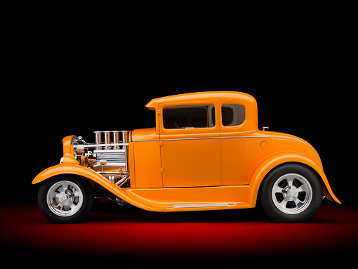 AUT 26 RK3089 01 © Kimball Stock 1930 Ford Model A Hot Rod Orange Profile View In Studio