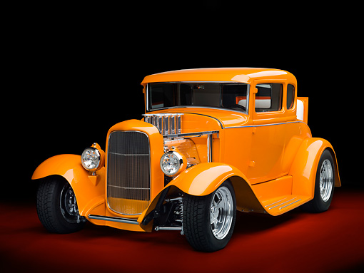 AUT 26 RK3090 01 © Kimball Stock 1930 Ford Model A Hot Rod Orange 3/4 Front View In Studio