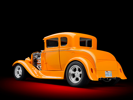 AUT 26 RK3091 01 © Kimball Stock 1930 Ford Model A Hot Rod Orange 3/4 Rear View In Studio
