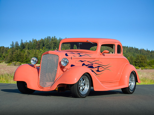 AUT 26 RK3254 01 © Kimball Stock 1934 Chevrolet 5 Window Coupe Sea Coral With Flames 3/4 Front View On Pavement