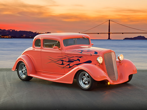AUT 26 RK3257 01 © Kimball Stock 1934 Chevrolet 5 Window Coupe Sea Coral With Flames 3/4 Front View On Pavement