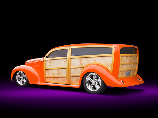 AUT 26 RK3262 01 © Kimball Stock 1939 Ford Woodie Orange 3/4 Rear View In Studio