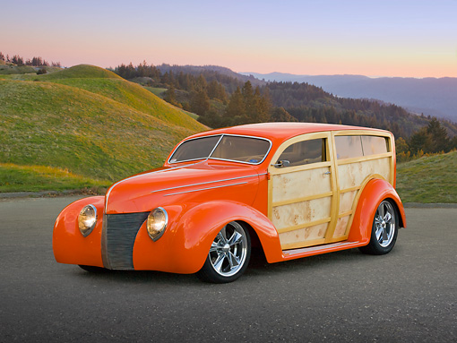 AUT 26 RK3268 01 © Kimball Stock 1939 Ford Woodie Orange 3/4 Front View On Pavement By Autumn Trees