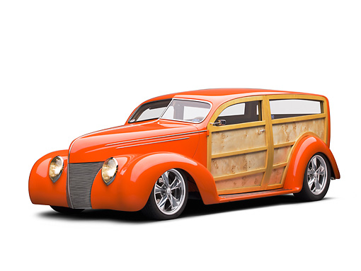 AUT 26 RK3318 01 © Kimball Stock 1939 Ford Woodie Orange 3/4 Front View On White Seamless